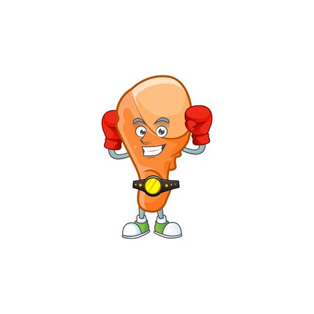 Chicken thigh cartoon with boxing character mascot vector illustration