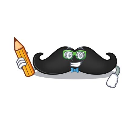 mustache mascot isolated with the student holding pencil cartoon. Vector illustration
