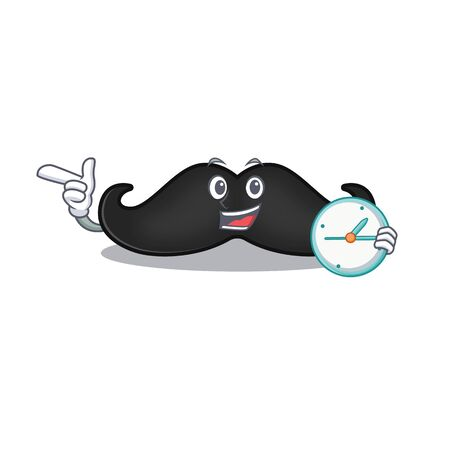 mustache mascot isolated with the with bring clock cartoon. Vector illustration