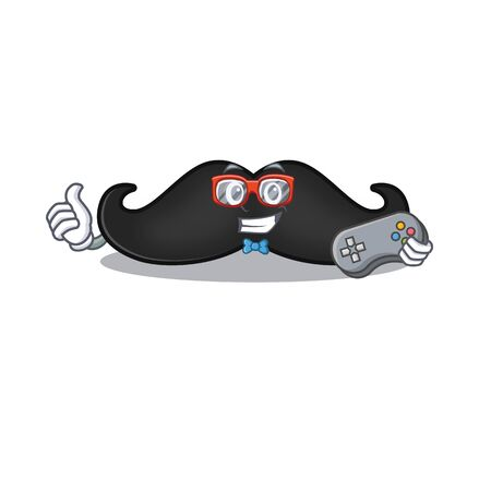 holding gamer mustache with in the cartoon shape. Vector illustration Illusztráció