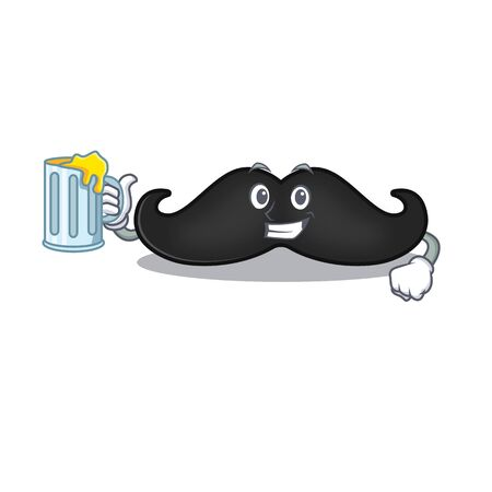 holding juice mustache with in the cartoon shape. Vector illustration