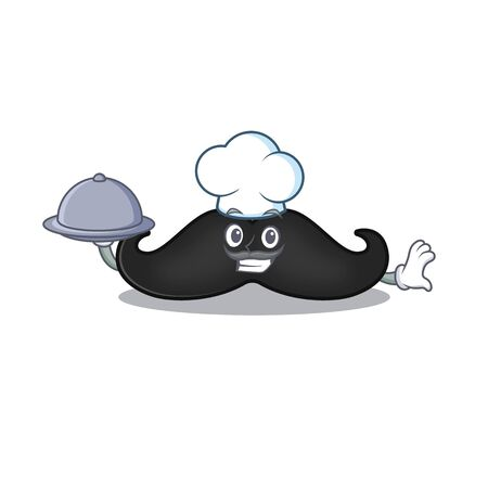 chef holding food mustache with in the cartoon shape. Vector illustration