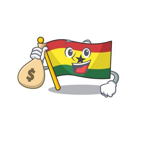 Cartoon flag ghana isolated in character holding money bag . Vector illustration