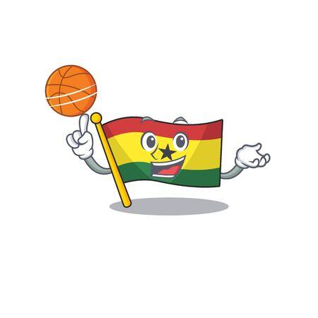Cartoon flag ghana isolated in character holding basketball . Vector illustration Illusztráció