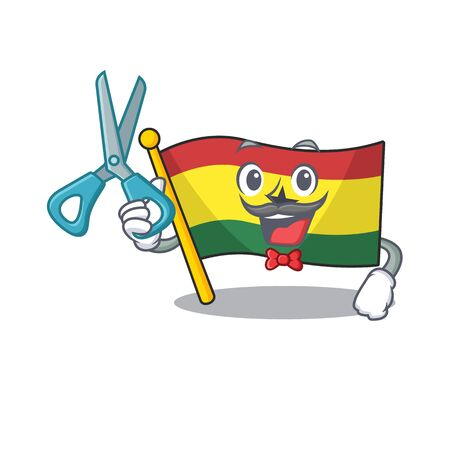 Cartoon flag ghana isolated in character barber . Vector illustration