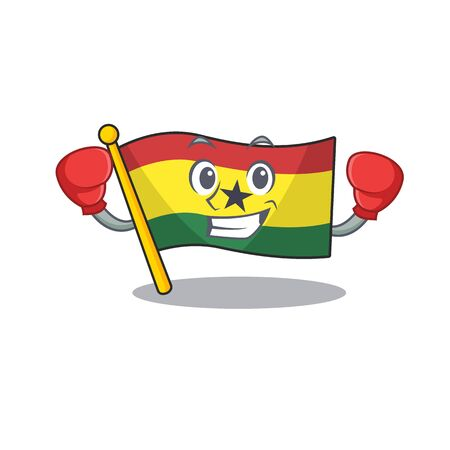 Cartoon flag ghana isolated in character boxing . Vector illustration
