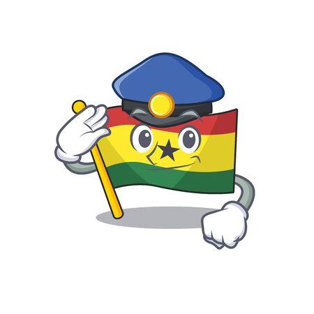 Cartoon flag ghana isolated in character police . Vector illustration