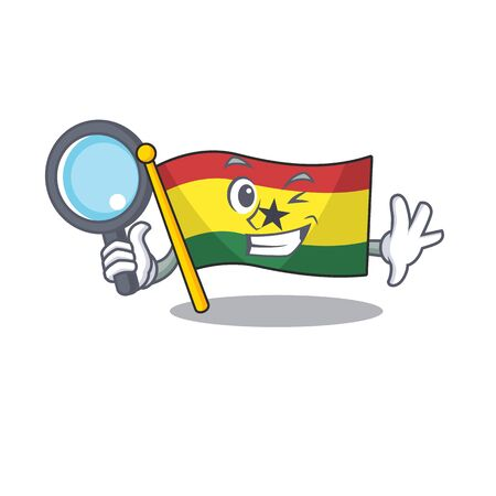 Character flag ghana in with cartoon detective. Vector illustration