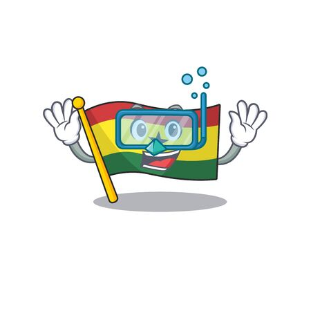 Character flag ghana in with cartoon diving . Vector illustration