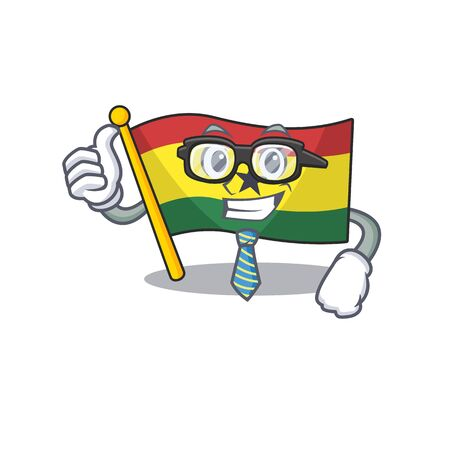 Character flag ghana in with cartoon businessman . Vector illustration