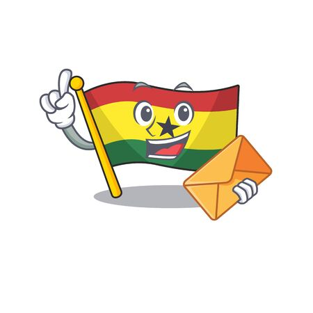 Character flag ghana in with cartoon bring envelope . Vector illustration