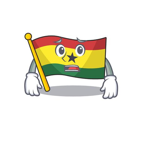 Mascot cartoon flag ghana in with afraid character . Vector illustration