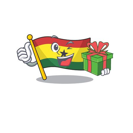 Mascot cartoon flag ghana in with holding gift character . Vector illustration Foto de archivo - 133693595