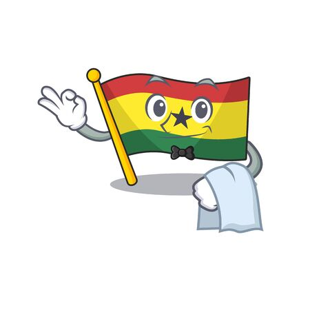 Mascot cartoon flag ghana in with waiter character . Vector illustration
