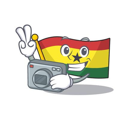 Mascot cartoon flag ghana in with photographer character . Vector illustration