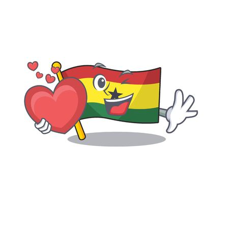 Mascot cartoon flag ghana in with holding heart character . Vector illustration