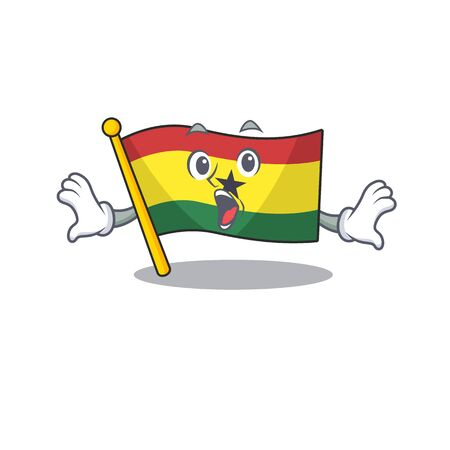 Mascot cartoon flag ghana in with surprised character . Vector illustration Ilustração
