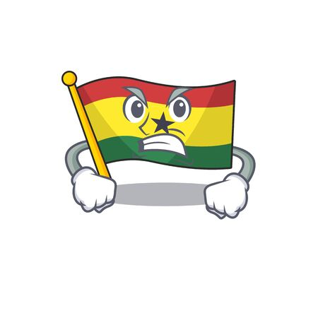 Mascot cartoon flag ghana in with angry character . Vector illustration