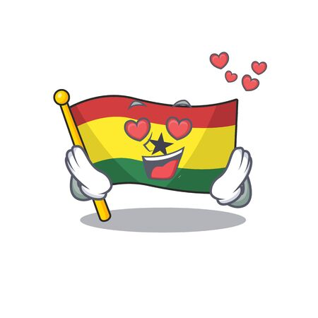 Mascot cartoon flag ghana in with in love character . Vector illustration
