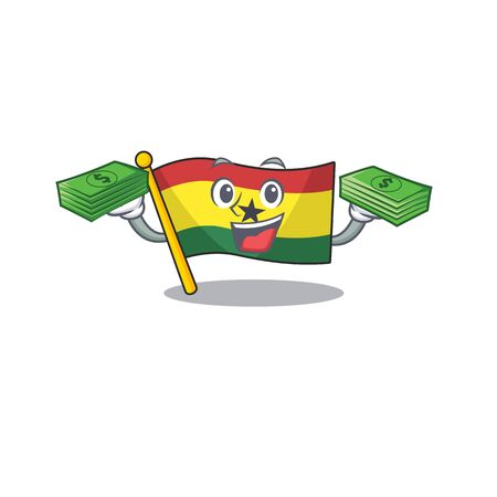 Mascot cartoon flag ghana in with holding money character . Vector illustration