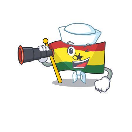 Mascot cartoon flag ghana in with sailor holding binocular character . Vector illustration