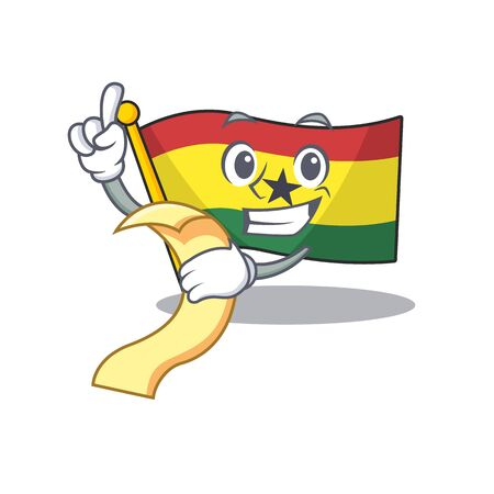 Mascot cartoon flag ghana in with holding bill character . Vector illustration