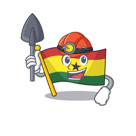 Mascot cartoon flag ghana in with miner character . Vector illustration