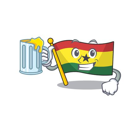 Mascot cartoon flag ghana in with holding juice character . Vector illustration