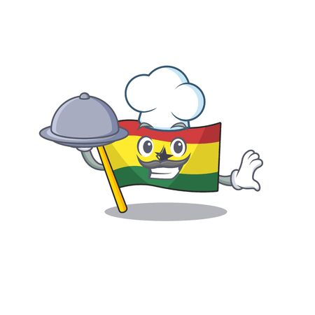 Mascot cartoon flag ghana in with chef holding food character . Vector illustration Ilustrace
