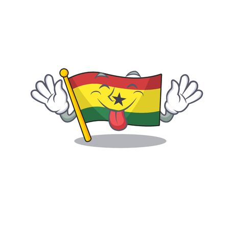 Cartoon flag ghana with in isolated tongue out. Vcetor illustration