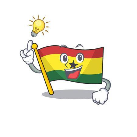 Cartoon flag ghana with in isolated have an idea. Vcetor illustration Ilustracja