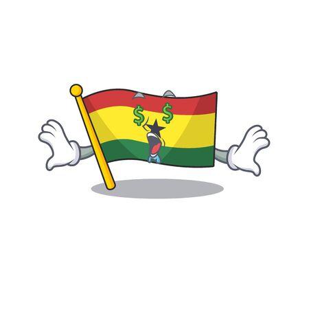 Cartoon flag ghana with in isolated money eye. Vcetor illustration
