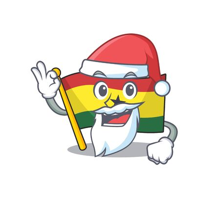 Cartoon flag ghana with in isolated santa claus. Vcetor illustration Illustration