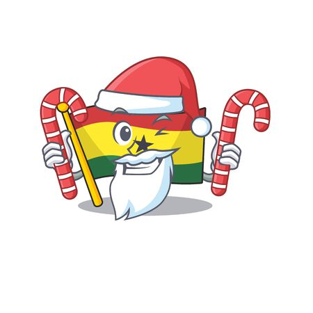 Cartoon flag ghana with in isolated santa bring candy. Vcetor illustration Illustration