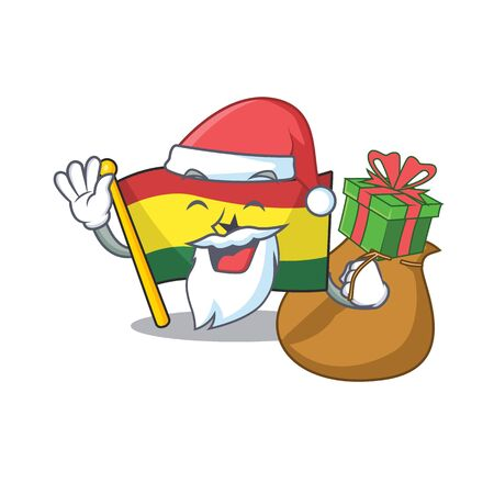 Cartoon flag ghana with in isolated santa bring gift. Vcetor illustration