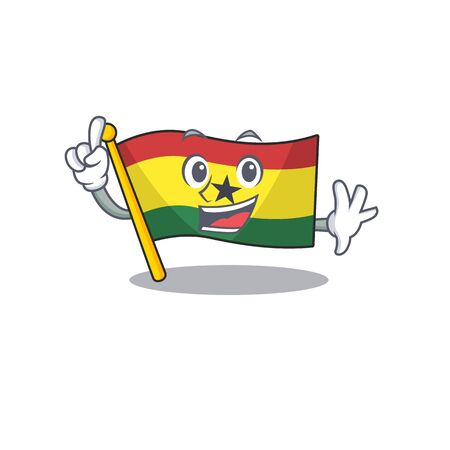 Cartoon flag ghana with in isolated finger. Vcetor illustration
