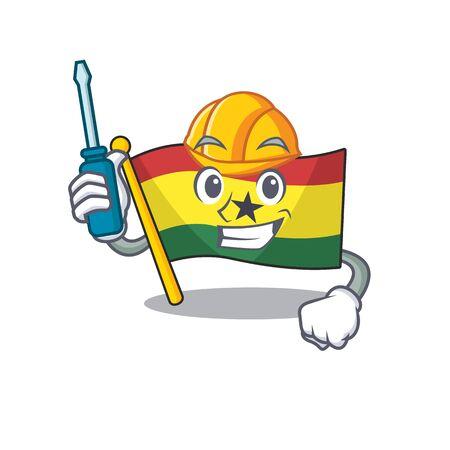 Cartoon flag ghana with in isolated automotive. Vcetor illustration