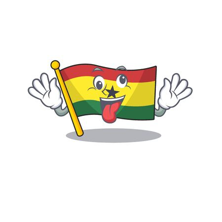 Cartoon flag ghana with in isolated crazy. Vector illustration Illustration