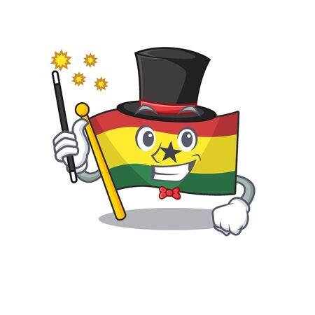 Cartoon flag ghana with in isolated magician. Vector illustration