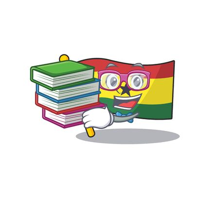 Cartoon flag ghana with in isolated student bring book. Vector illustration