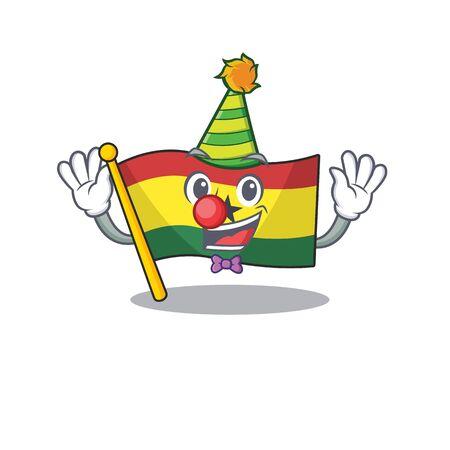 Cartoon flag ghana with in isolated clown. Vector illustration