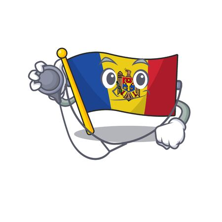 Flag moldova cartoon with in doctor character. Vector illustration