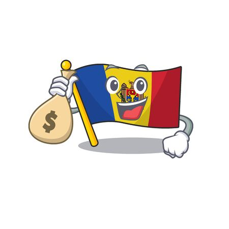 Flag moldova cartoon with in holding money bag character. Vector illustration