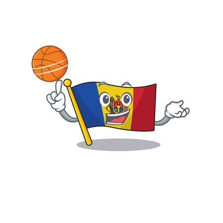 Flag moldova cartoon with in holding basketball character. Vector illustration Ilustração