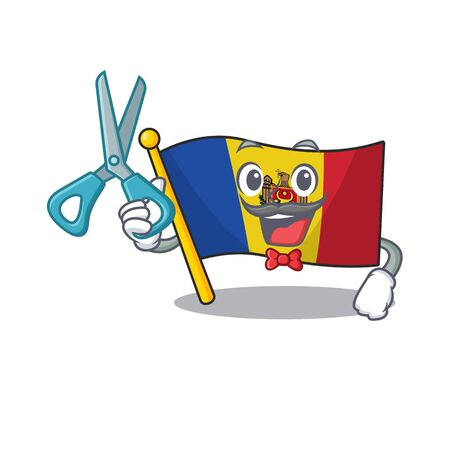 Flag moldova cartoon with in barber character. Vector illustration