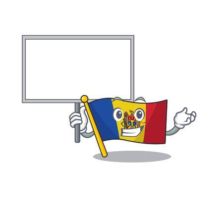 Flag moldova cartoon with in bring board character. Vector illustration Ilustração