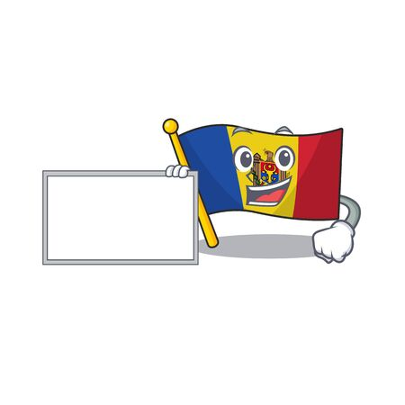 Flag moldova cartoon with in with board character. Vector illustration