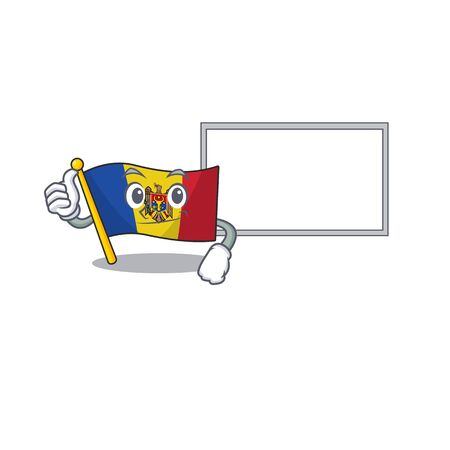 Flag moldova cartoon with in thumbs up with board character. Vector illustration