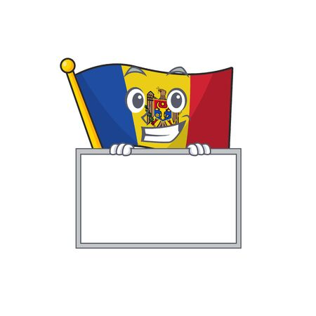 Flag moldova cartoon with in grinning with board character. Vector illustration