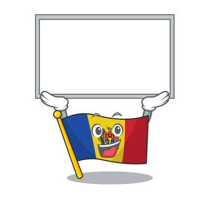 Flag moldova cartoon with in up board character. Vector illustration Ilustração